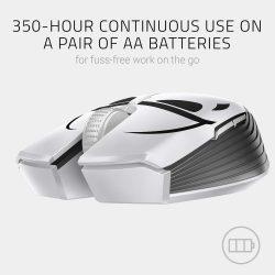 Razer Atheris Ambidextrous Wireless Mouse - [Stormtrooper Limited Edition]:  7200 DPI Optical Sensor - 350 Hr Battery Life - USB Wireless Receiver &